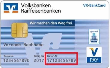 Kartennummer Bankkarte